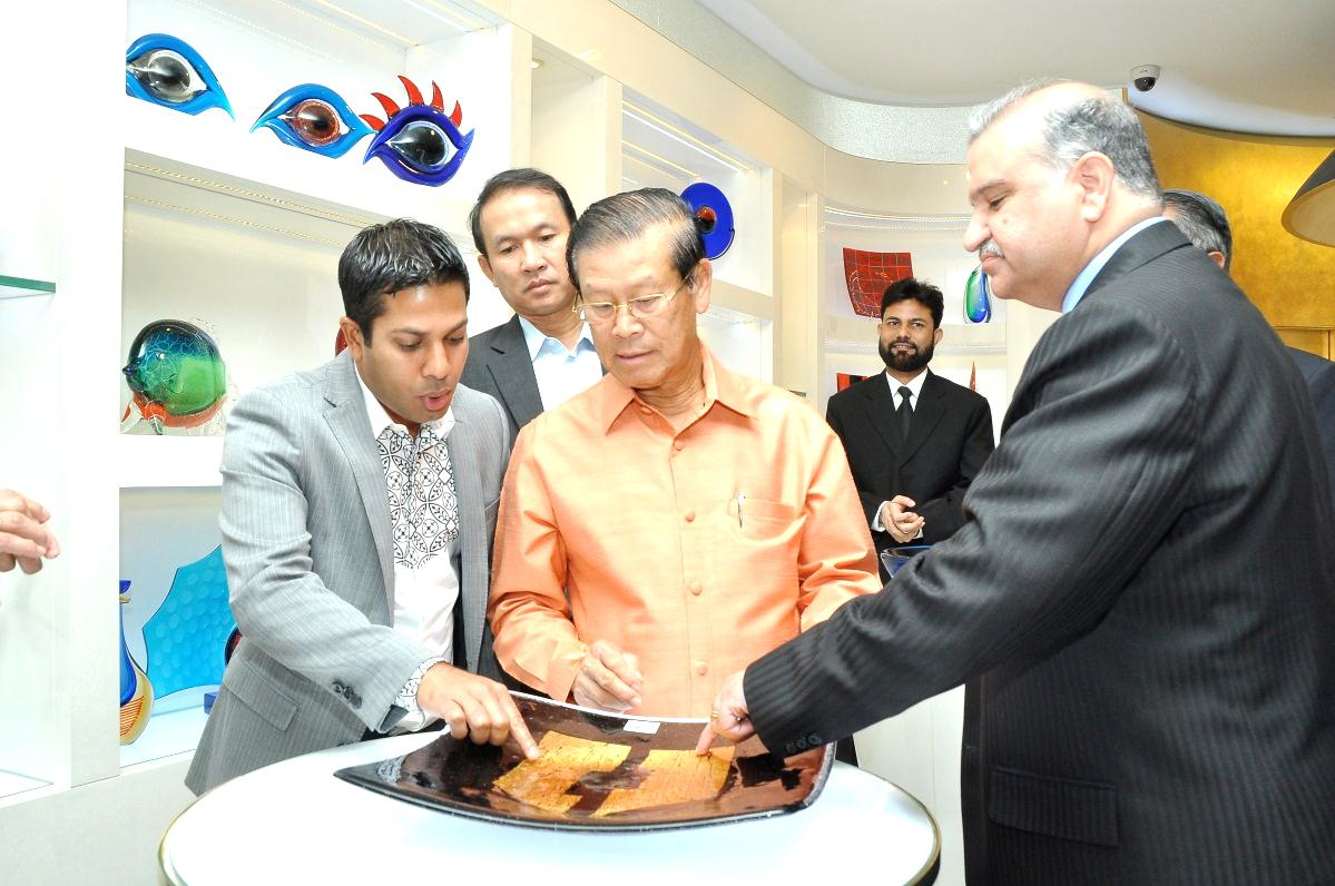 H.E. Somsavat LENGSAVAD, Deputy Prime Minister, Lao PDR and Standing Member Of Government with Mr. Sadik Mohammad Chowdhury, MD. L.A.I.D., HSMM Group visiting perfume factory In Dubai, 2012