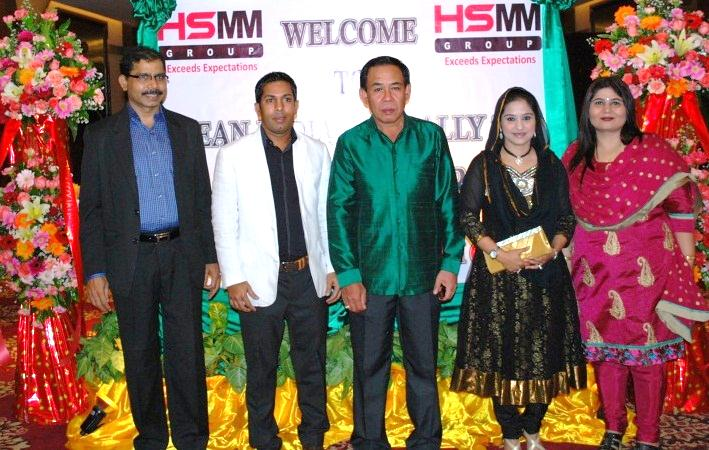 Dr. Bounxou, Director of Police, Vientiane, Lao PDR with Mr. Sadik Mohammad Chowdhury, MD L.A.I.D., HSMM Group, Madame Nazma Sultana Chowdhury, Dr. Kulwant Singh and Madame Namita Singh at Gala Dinner-9 Dec 2012