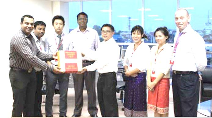 Donated noodles to Vientiane Times Newspaper for school children in Champasak Province, Lao PDR 2011