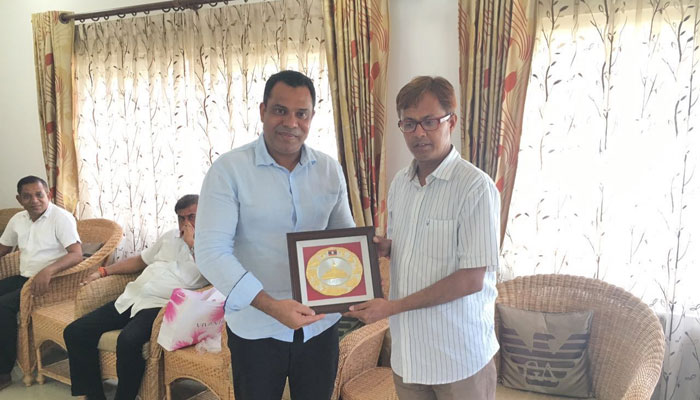 Felicitating Shri Shiladitya Dev, my local BJP MLA from Hojai, Assam and also the first BJP MLA from Hojai during the Grand Iftaar Celebration at Chowdhury House, Hojai Assam on 15 June 2016.