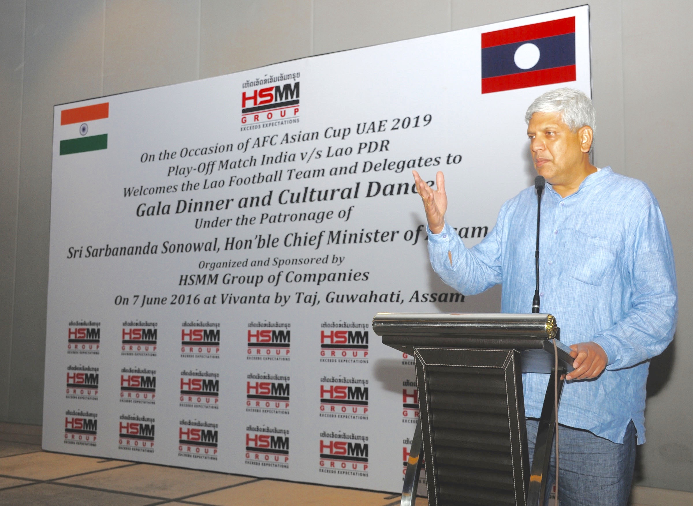 H.E. Ravi Shankar Aisola, Indian Ambassador to Lao PDR addressing the Lao Football Team on 7 June 2016 at Gala Dinner, Guwahati, Assam - sponsored by HSMM Group of Companies