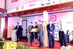 H.E. Dr. Nam VIYAKETH, Minister of Industry and Commerce Lao PDR presenting certificate to Mr. Sadik Mohammad Chowdhury MD L.A.I.D., HSMM Group at AEBF Asia Europe Business Forum 2012, Vientiane, Lao PDR, 5 Nov 2012