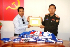 Mr. Sadik Mohammad Chowdhury, MD, L.A.I.D., HSMM Group receiving Certificate of Donation 29th Oct 2010: Ministry Of Defence for sports jerseys: 4 million kip
