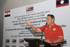 Mr. Habib Mohammed Chowdhury, Founder Chairman and Managing Director of HSMM Group of Companies, Lao PDR addressing the Lao Football Team on 7 June 2016 at Gala Dinner, Guwahati, Assam - sponsored by HSMM Group of Companies