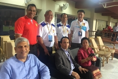 H.E. Ravi Shankar Aisola, Indian Ambassador to Lao PDR, H.E. Southam Sakonhninhom, Ambassador of Lao PDR to India and Mr. Habib Mohammed Chowdhury, Founder Chairman and Managing Director of HSMM Group of Companies, Lao PDR with the Coached of Lao National Football Team at AFC Asian Cup UAE 2019 Qualify Match India V/S Lao PDR on 07 June 2016, Guwahati, Assam, India